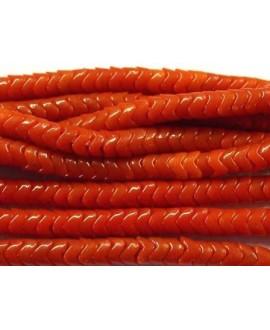Cuentas serpiente de vidrio rojo  6x6mm paso 2mm
