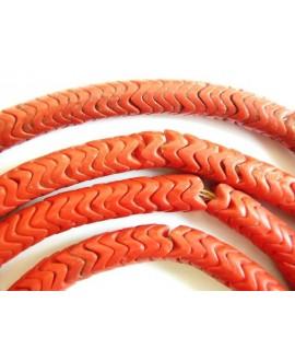 Cuentas serpiente antiguas de vidrio rojo coral  8-9mm paso 2mm