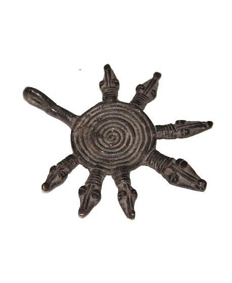 Antiguo colgante de serpientes africanas hecho por la tribu GAN 90x76mm