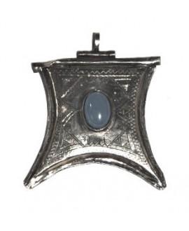 Colgante talismán de plata tuareg con piedra semi preciosa, 50x55mm