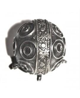 Cuenta marroquícon tres anillas, 30x35mm, paso 2mm