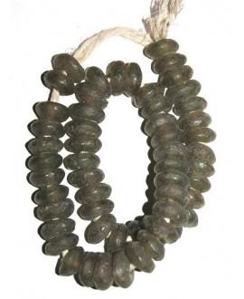 Vidrio reciclado rondel  8x20mm oliva, precio por ristra de 53 rondeles aprox