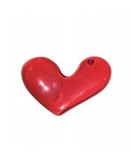 Colgante corazón resina rojo 60x50/45mm