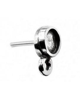 Pendientes con anilla para cabujón de 6mm, zamak baño de plata, precio por par