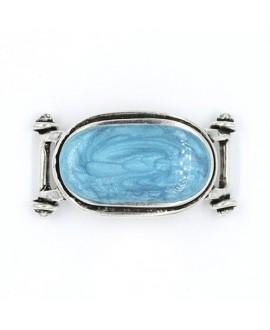 Adorno pulsera cabujón azul, 52x27mm paso 11x3mm, zamak baño de plata