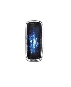 Colgante 29x13mm paso 3mm, resina azul/zamak baño de plata