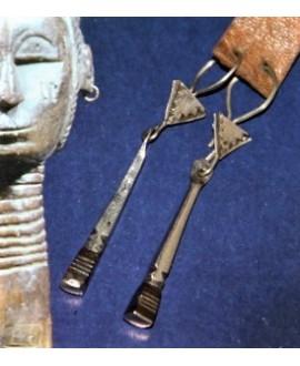Pendientes Tuareg de plata y madera de ébano - marroquí, largo 37mm