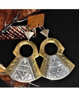 Pendientes Tuareg de bronce/plata, largo 60mm