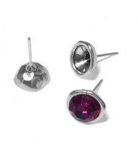 Pendientes para cristales sw ss39 o media perla 8mm, zamak baño de plata, precio por par